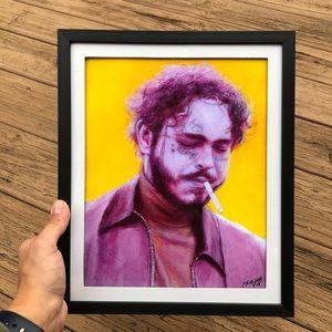 8.5x11 Framed Post Malone Print of my Painting